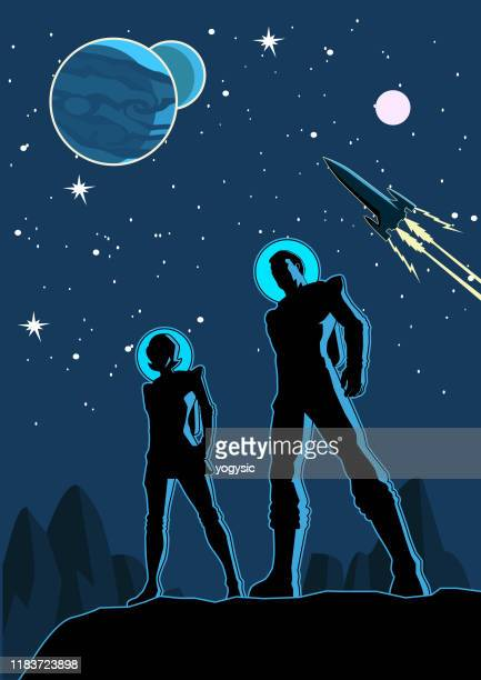 stockillustraties, clipart, cartoons en iconen met vector retro astronaut paar silhouet in ruimte illustratie - futuristisch