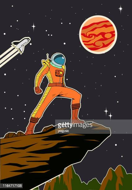 宇宙ポスターイラストのベクトルレトロ宇宙飛行士 - 映画のポスター点のイラスト素材/クリップアート素材/マンガ素材/アイコン素材
