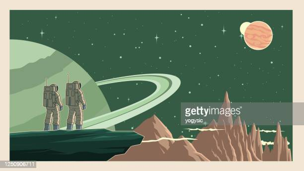 vector retro astronaut in space stock illustration - copy space stock illustrations