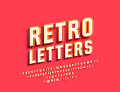 Vector Retro Bright Alphabet Letters, Numbers and Symbols