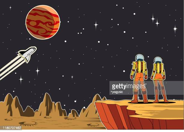 vector retro couple astronaut on a planet illustration - planet space stock illustrations