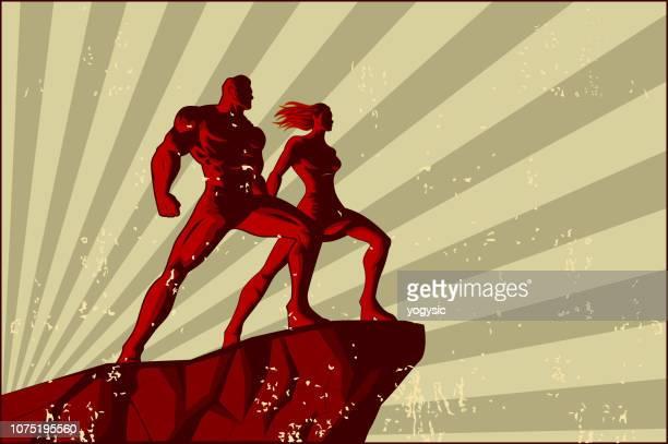vector retro couple propaganda poster - heroines stock illustrations