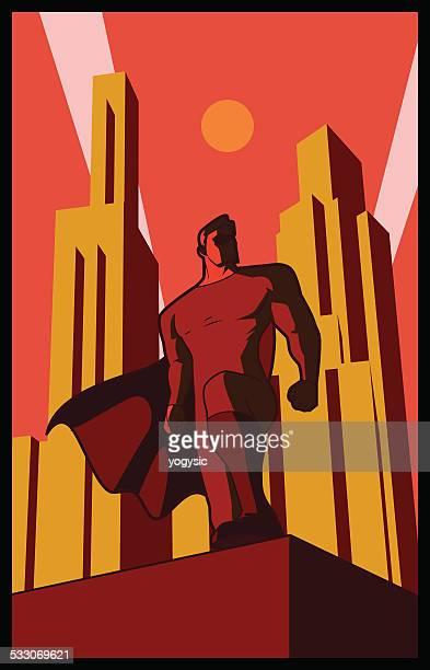 Vector Retro Pose épicos Super-Herói