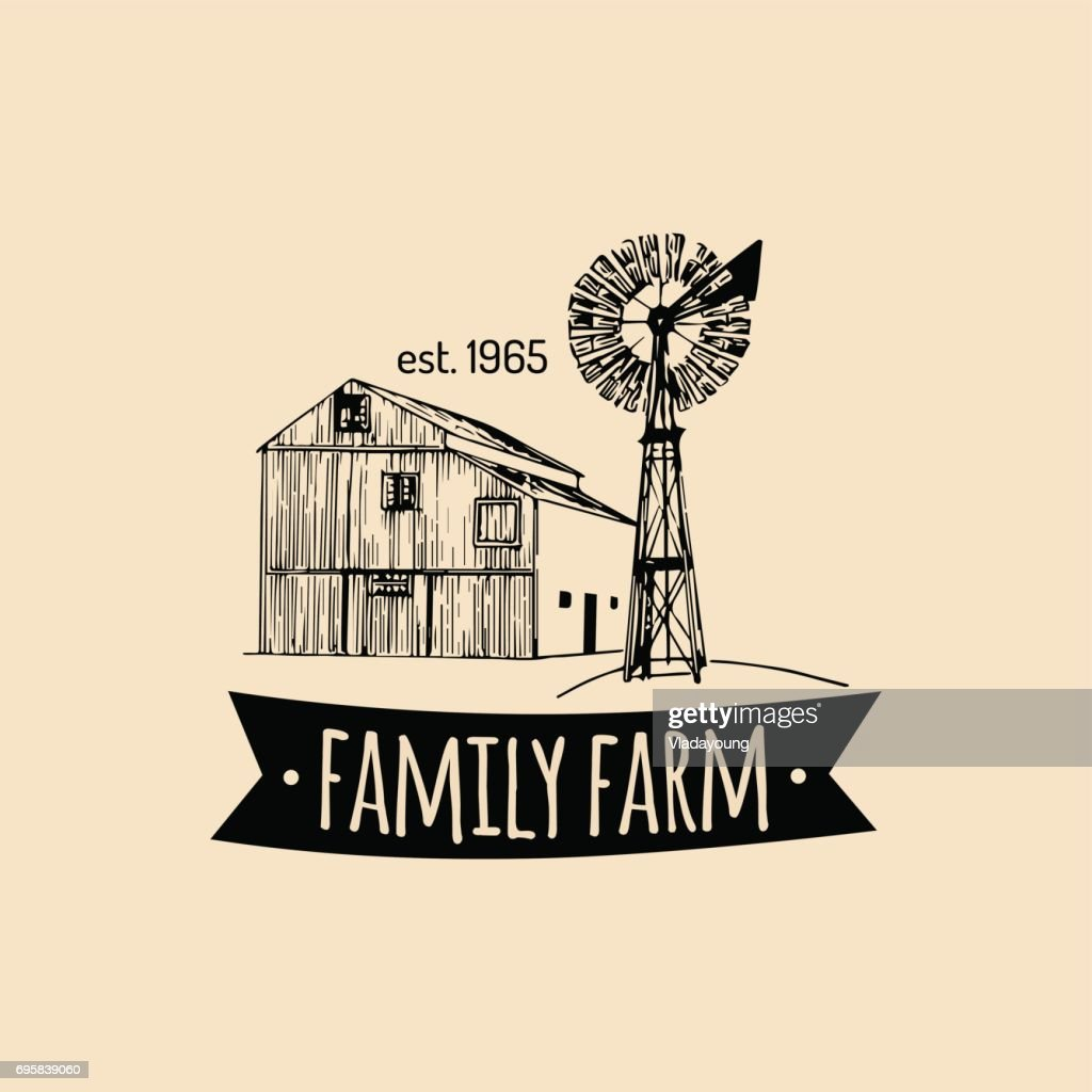 Vector retro family farm label.Organic premium quality products poster.Vintage hand sketched barn and windmill icons.