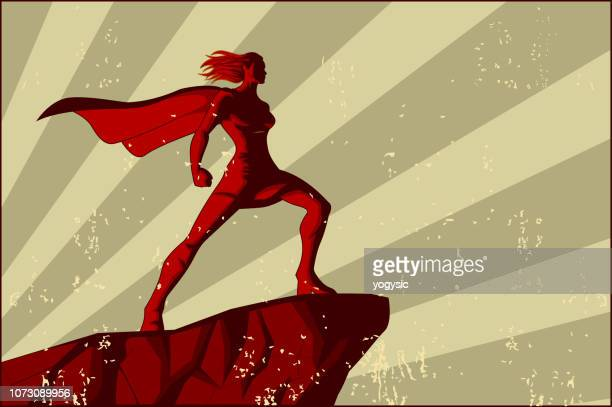 vector retro female superhero poster - superhero stock illustrations