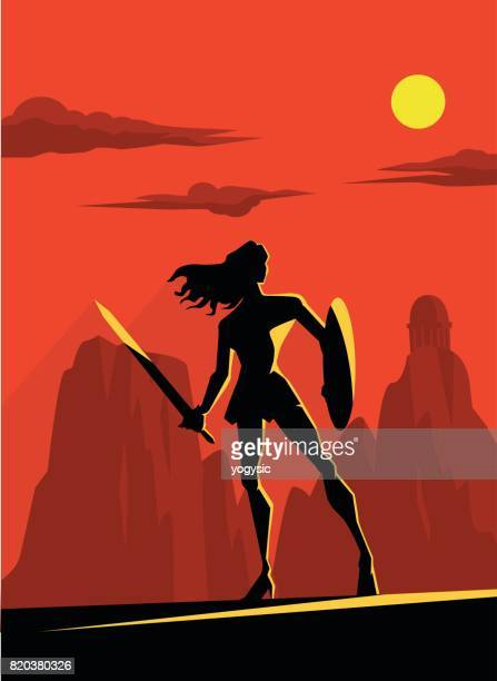 vector retro female superhero warrior silhouette - women's issues stock illustrations, clip art, cartoons, & icons