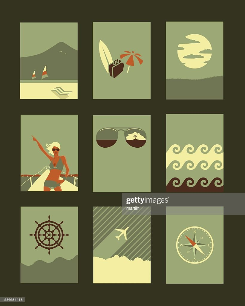 Vector Retro Illustrations Collection: Holiday and Travel