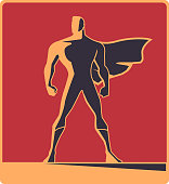 Vector Retro Male Superhero Silhouette Illustration