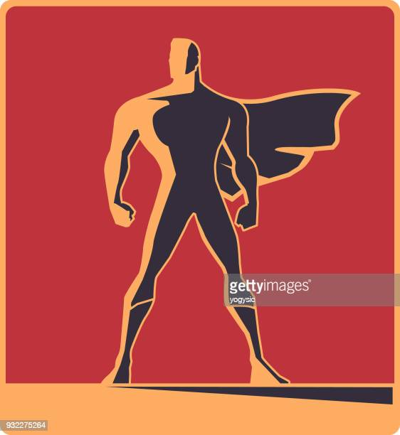 vector retro male superhero silhouette illustration - heroes stock illustrations