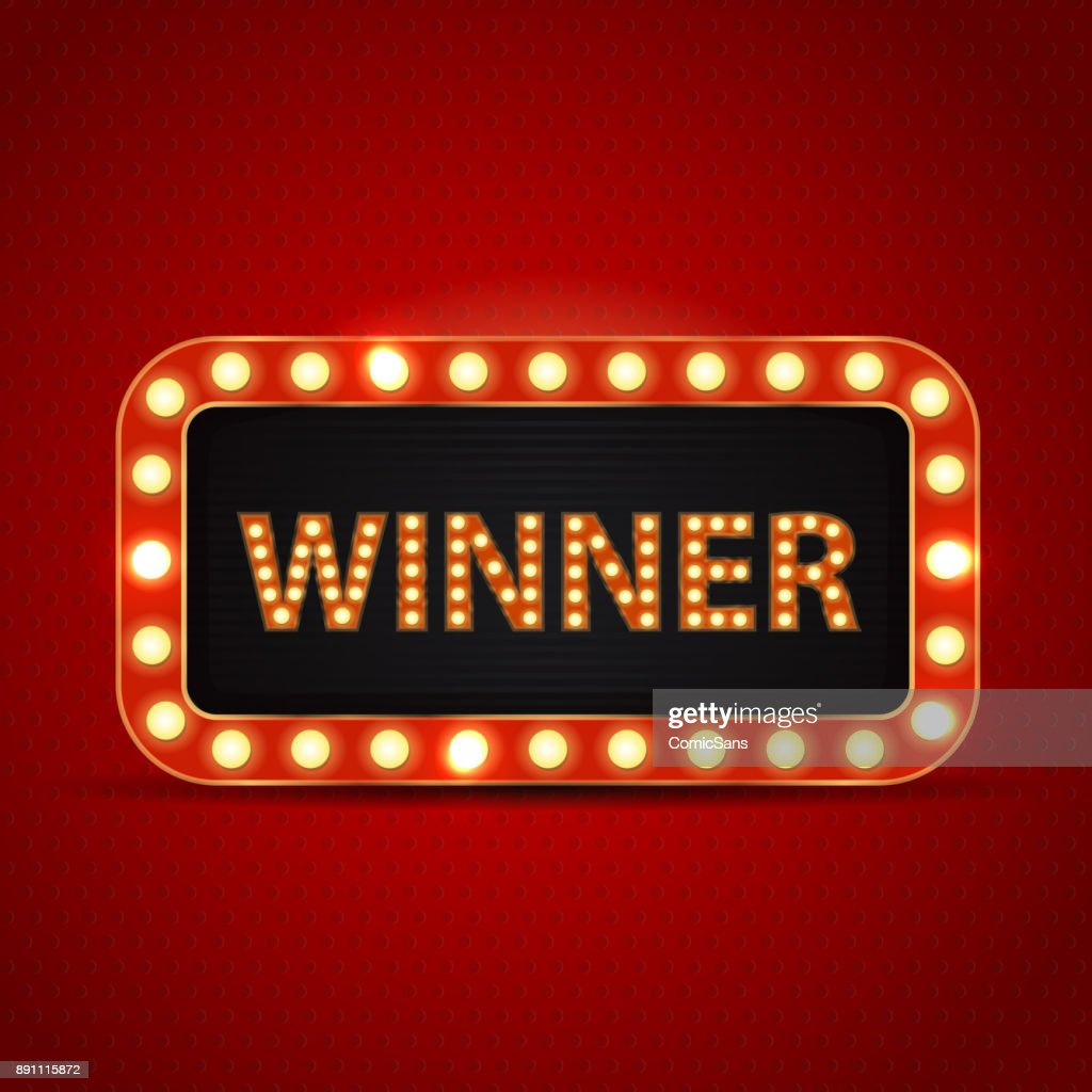 Vector retro neon billboard for winner and glowing lamps on the red background. Concept of winning, casino and award ceremony.