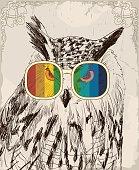 vector retro owl