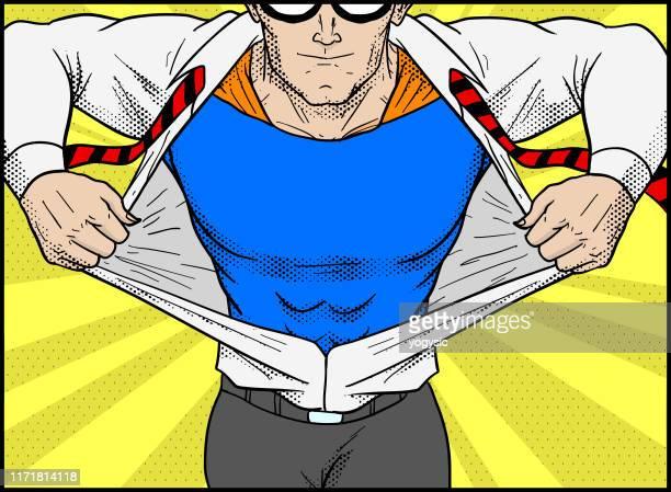 vector retro pop art superhero transformation illustration - pop art stock illustrations