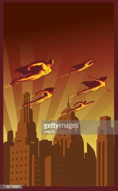 vector retro poster of flying superhero team above the city - art deco stock illustrations