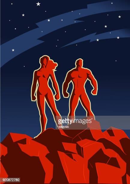 vector retro propaganda superhero couple illustration - propaganda stock illustrations