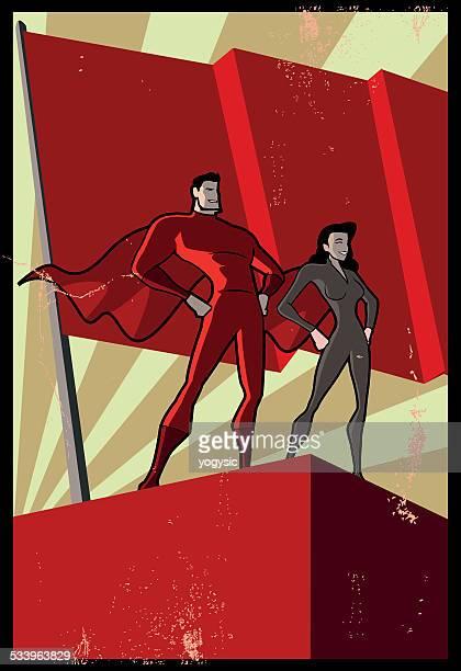 ilustraciones, imágenes clip art, dibujos animados e iconos de stock de vector de póster retro de propaganda superhéroe - socialismo
