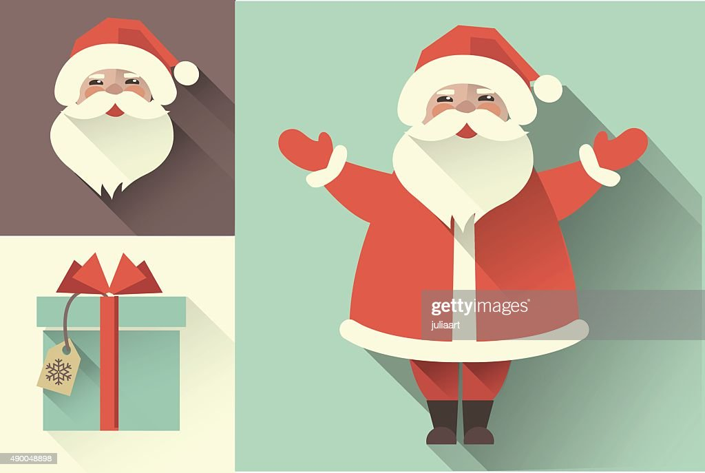 Vector retro Santa Claus. Flat collection