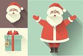 Vector retro Santa Claus. Flat collection