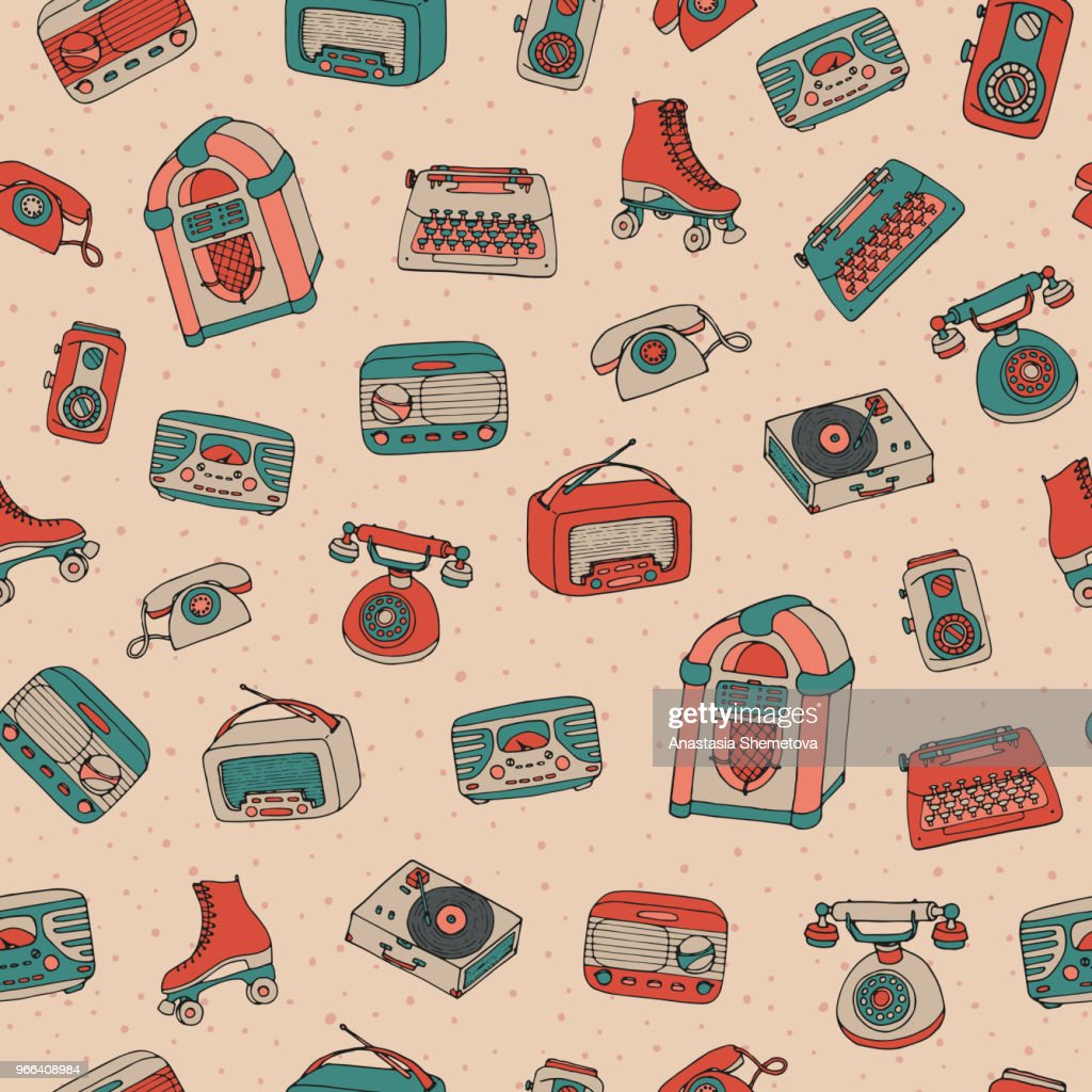 Vector retro seamless pattern with antique tech, scooter, juke box, radio, typewriter, roller skates and vinyl record player on the dotted background.