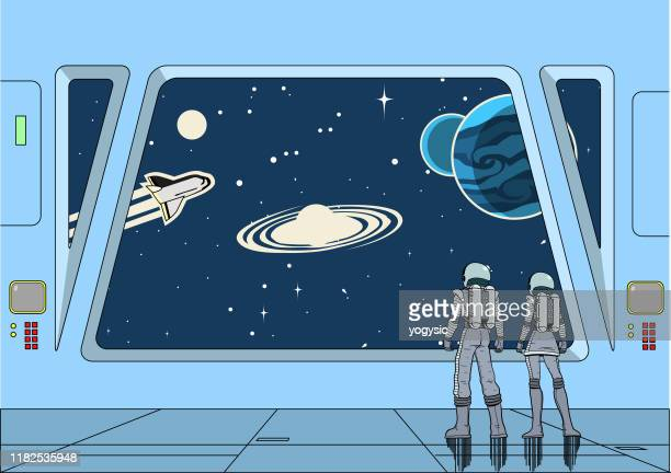 vector retro space astronauts couple inside a spaceship looking at outer space - copy space stock illustrations