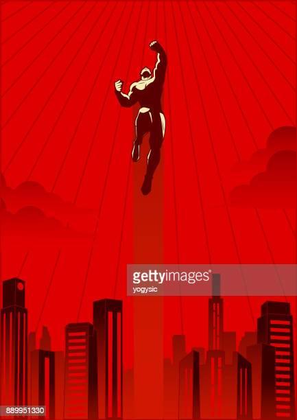 vector retro style illustration of a superhero flying upward - tall high stock illustrations