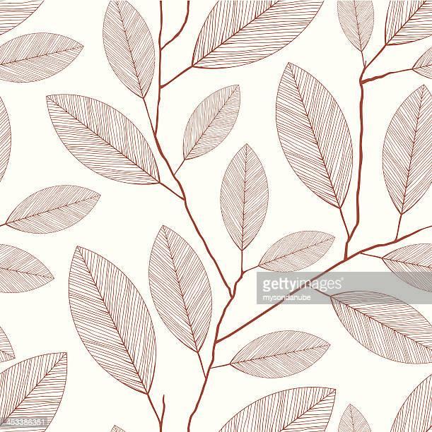 ベクトルレトロなスタイルの葉の壁紙パターン - つる草点のイラスト素材/クリップアート素材/マンガ素材/アイコン素材