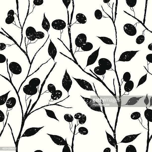 ベクトルレトロなスタイルの木の壁紙パターン - オリーブ点のイラスト素材/クリップアート素材/マンガ素材/アイコン素材