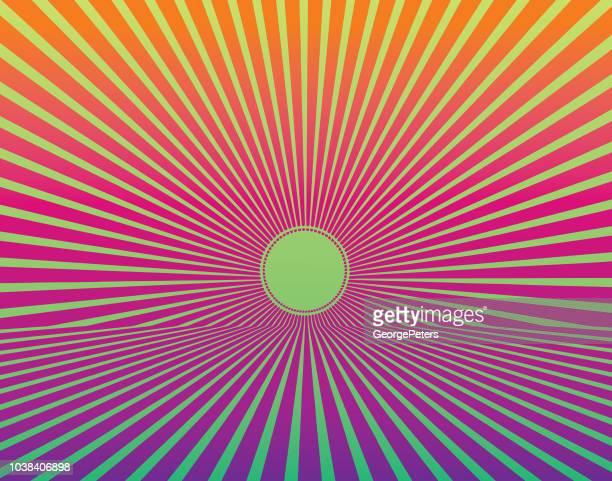 Vector Retro Sunburst with horizon