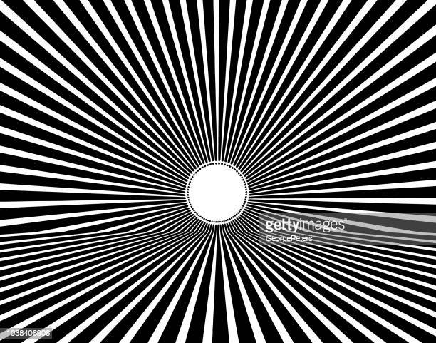 vector retro sunburst with horizon - optical illusion stock illustrations