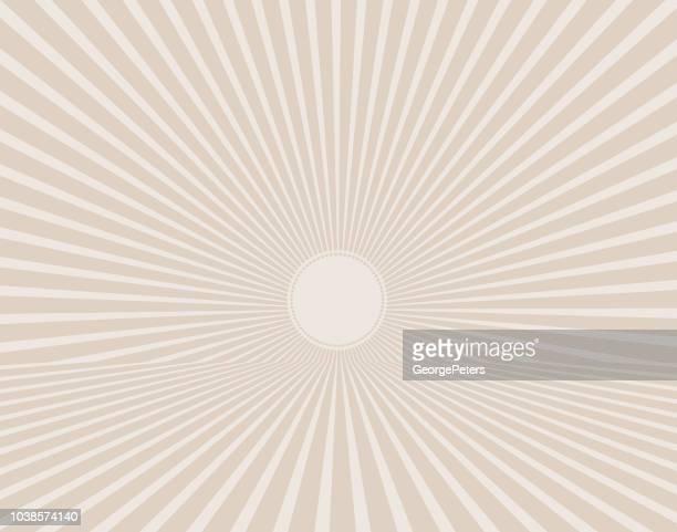 vector retro sunburst with horizon - desaturated stock illustrations, clip art, cartoons, & icons