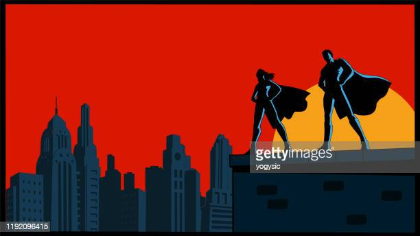 vector retro superhero couple silhouette with city skyline - heroes stock illustrations