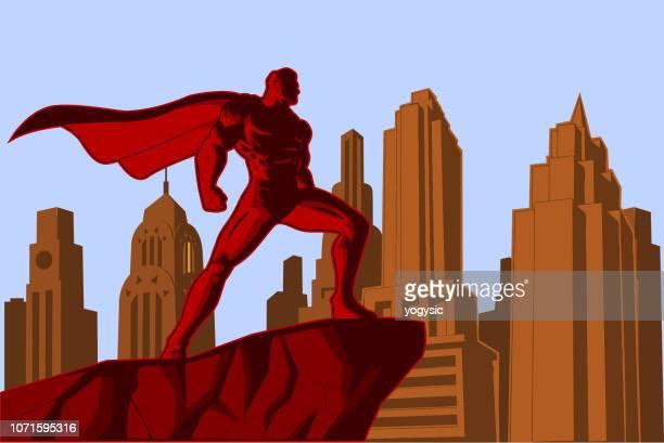 Vektor Retro-Superhelden in der City-Poster