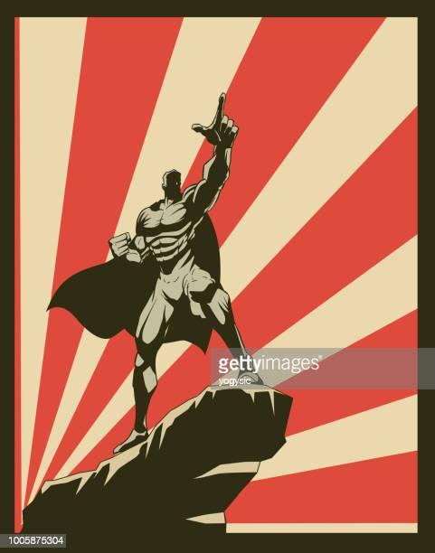 ilustraciones, imágenes clip art, dibujos animados e iconos de stock de vector retro superhéroe señalando el cartel de propaganda hacia adelante - vista de ángulo bajo