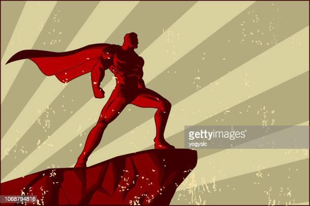vector retro superhero poster - cape garment stock illustrations