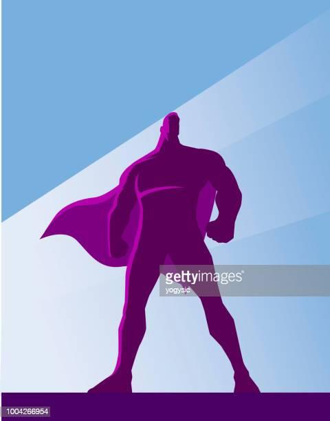ilustraciones, imágenes clip art, dibujos animados e iconos de stock de vector silueta de superhéroe retro - vista de ángulo bajo