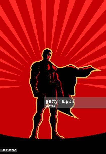 Vektor-Retro-Superhelden-Silhouette