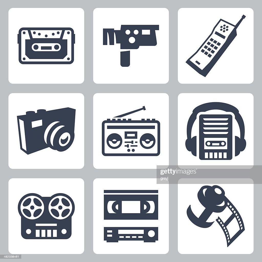 Vector retro technology icons set #2
