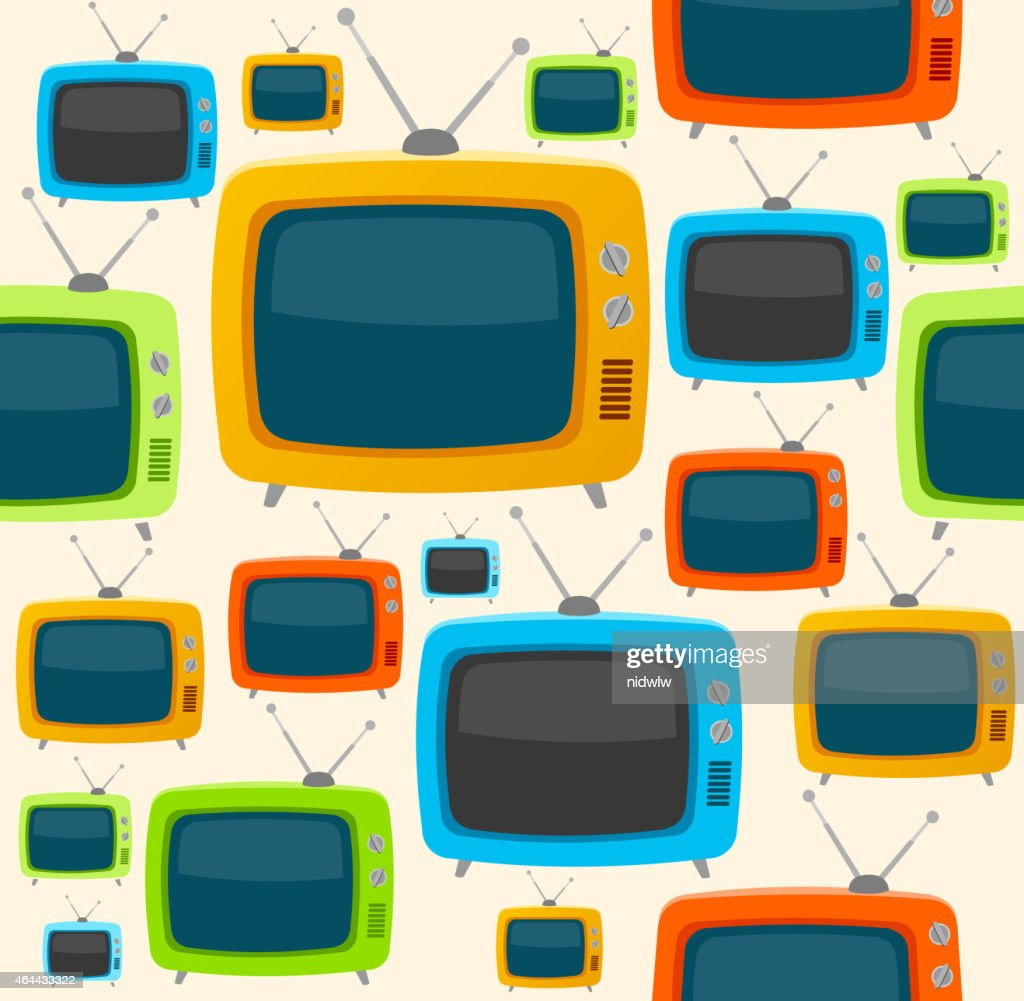 Vector retro tv seamless pattern. Flat Design