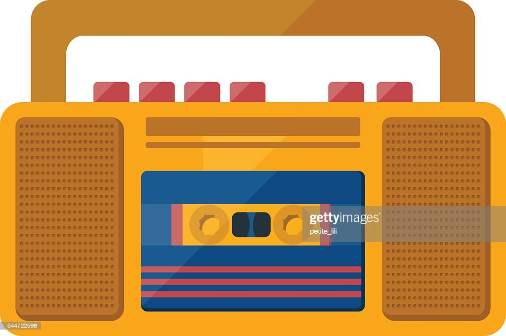 Vector retro vintage tape recorder