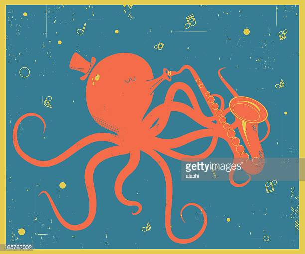 Vector Retro-style illustration of Octopus with Saxophon