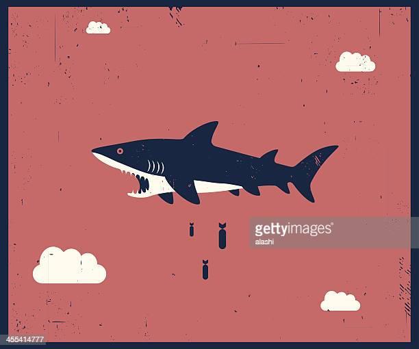 illustrations, cliparts, dessins animés et icônes de vecteur rétro style illustration de requin bombardement - requin