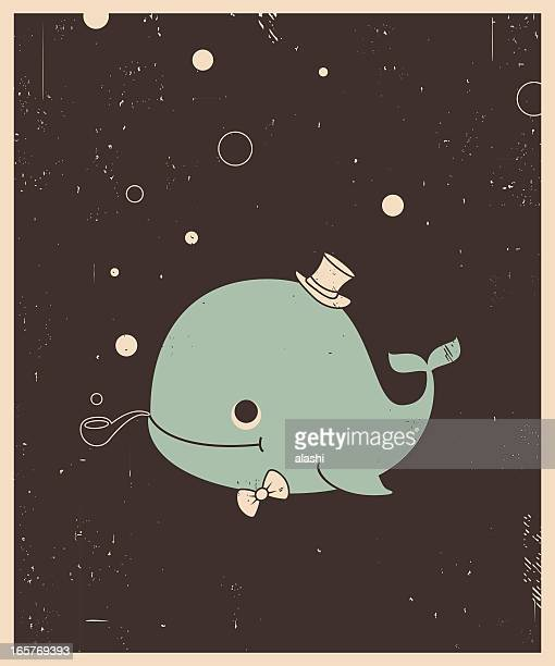 vector retro-style illustration of whale - whales stock illustrations, clip art, cartoons, & icons