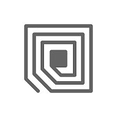 Vector RFID tag chip line icon.