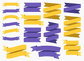 Vector ribbon banners isolated on White background. Set of 16 yellow and purple ribbon banners