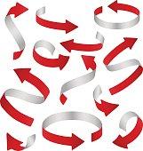Vector ribbon paper realistic volumetric 3d colored curly arrow set