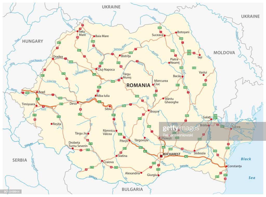 Vector road map of the Eastern European state Romania