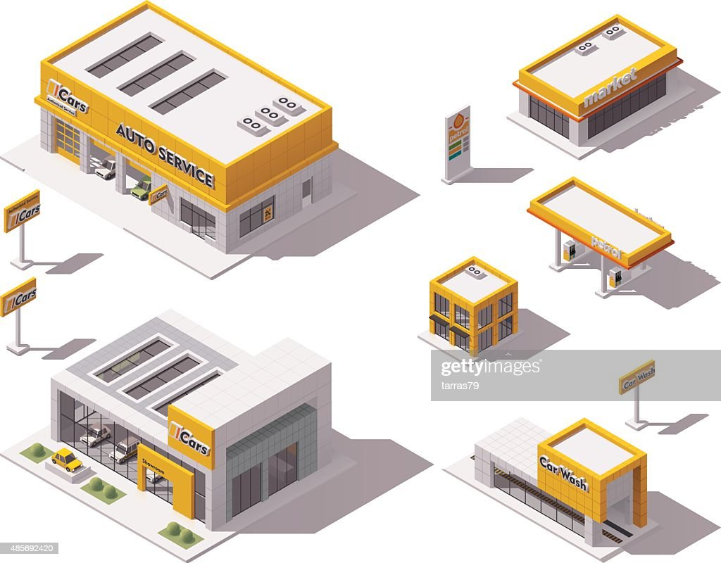 Vector road transport related buildings