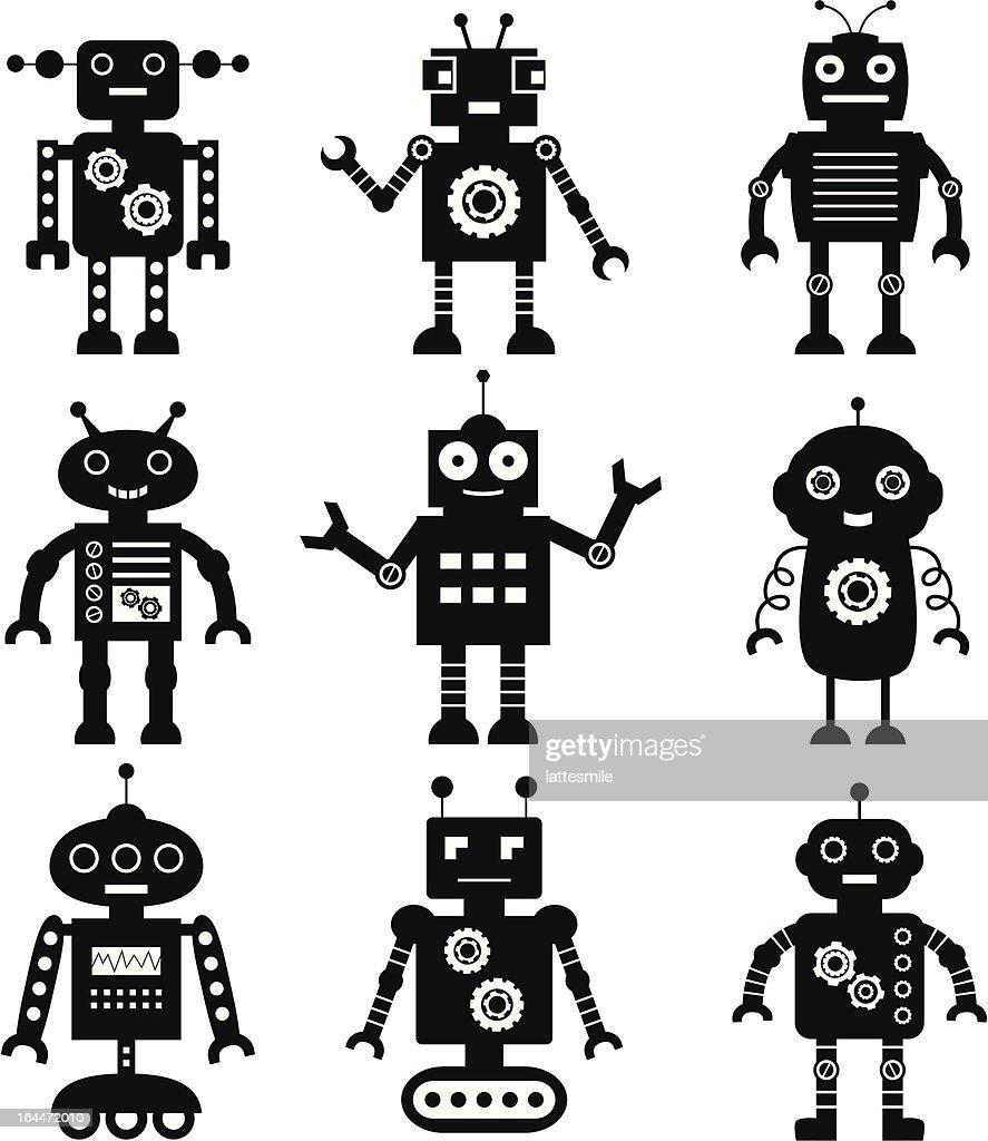 Vector robot silhouettes