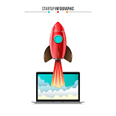 Vector rocket flying from laptop. Startup infographic. Can be used for workflow layout, presentation or web design.