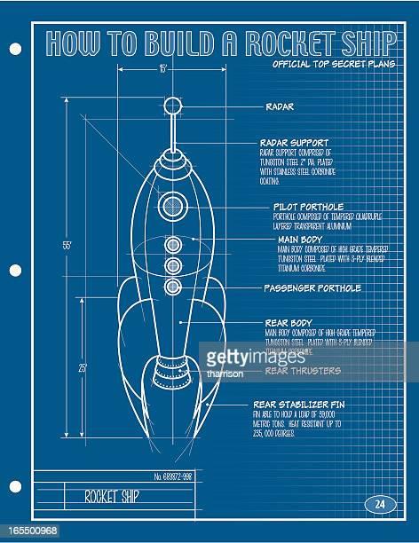 vector rocket ship blueprint - rocket stock illustrations