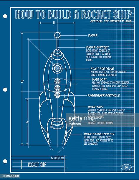 Vector Rocket Ship Blueprint